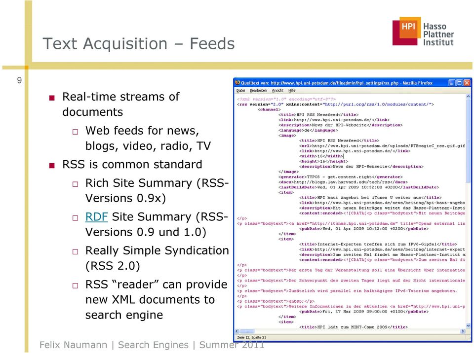 (RSS- Versions 0.9x) RDF Site Summary (RSS- Versions 0.9 und 1.