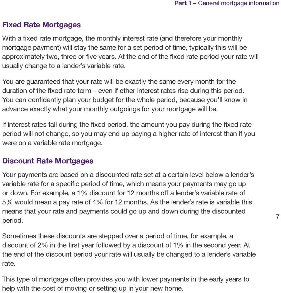 You are guaranteed that your rate will be exactly the same every month for the duration of the fixed rate term even if other interest rates rise during this period.