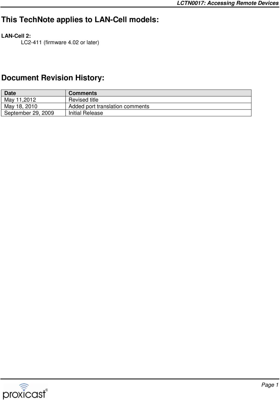 02 or later) Document Revision History: Date May 11,2012