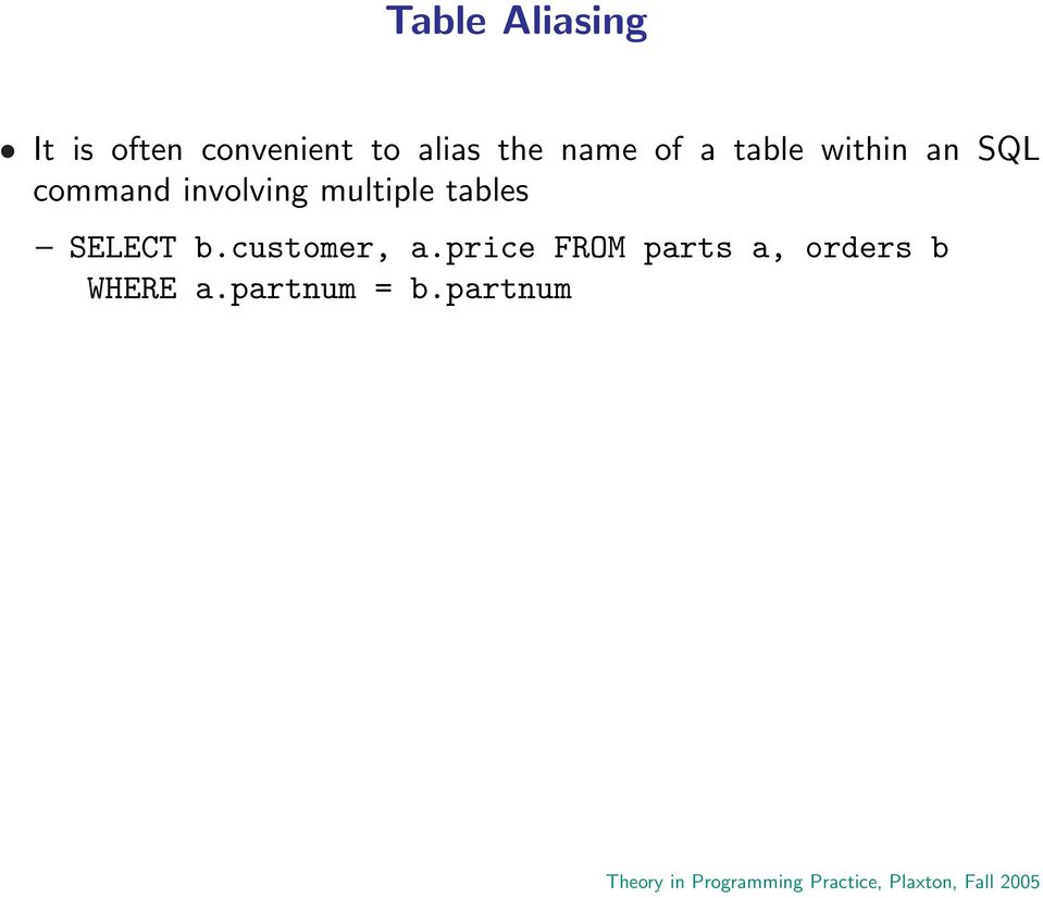 involving multiple tables SELECT b.customer, a.