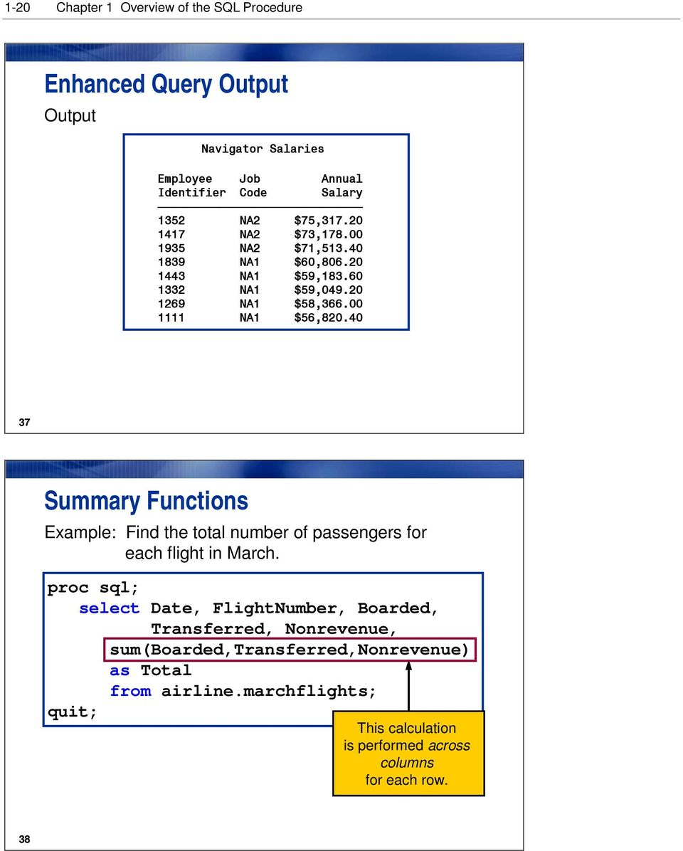 20 1269 NA1 $58,366.00 1111 NA1 $56,820.40 37 Summary Functions Example: Find the total number of passengers for each flight in March.
