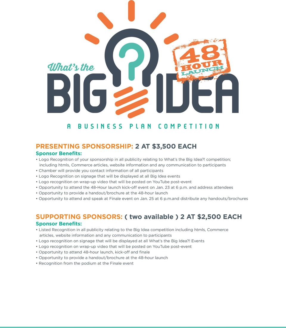 signage that will be displayed at all Big Idea events Logo recognition on wrap-up video that will be posted on YouTube post-event Opportunity to attend the 48-Hour launch kick-off event on Jan.
