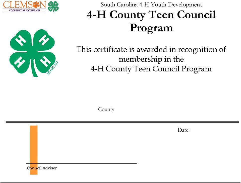 in recognition of membership in the 4-H County