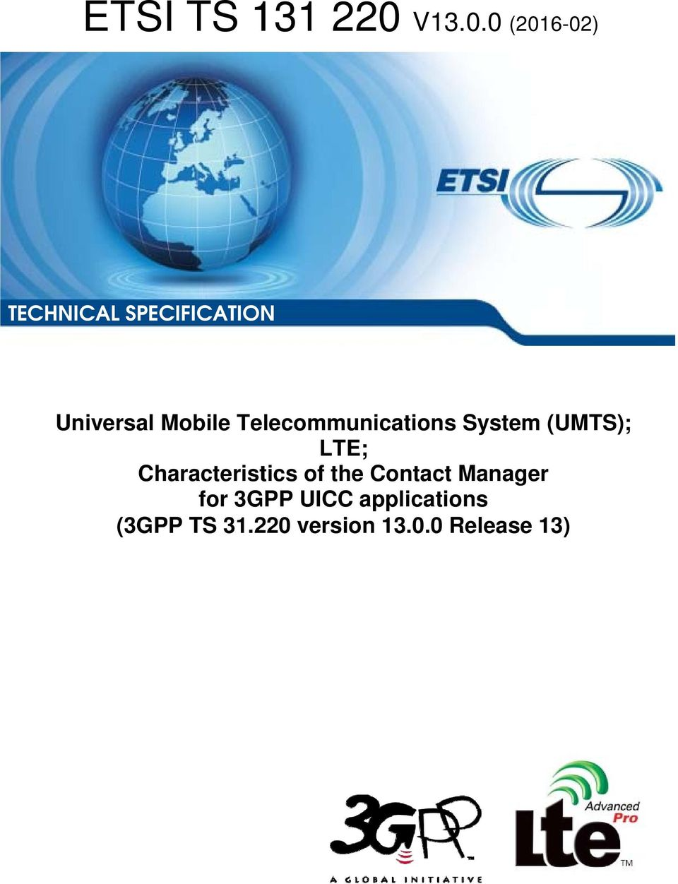 0 (2016 16-02) TECHNICAL SPECIFICATIONION Universal