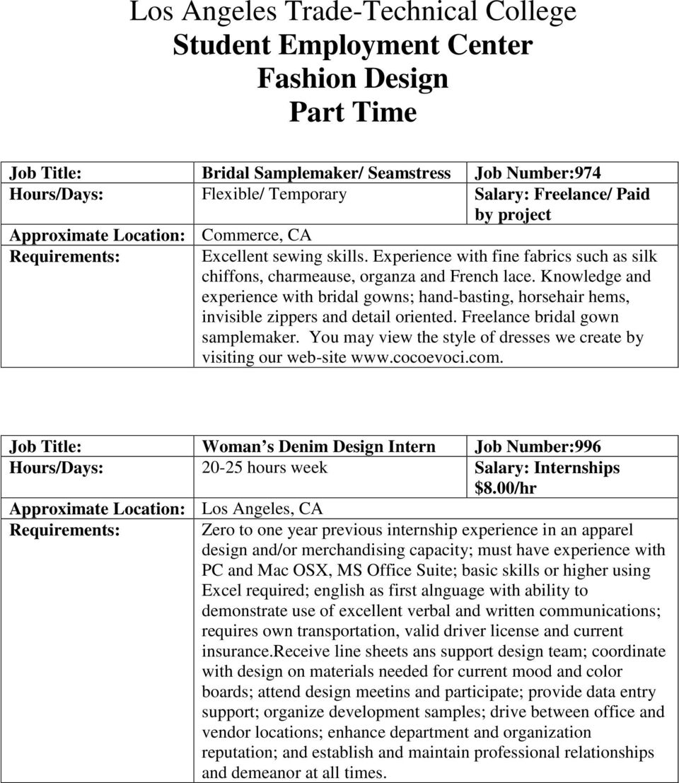 Los Angeles Trade Technical College Student Employment Center Fashion Design Part Time Pdf Free Download