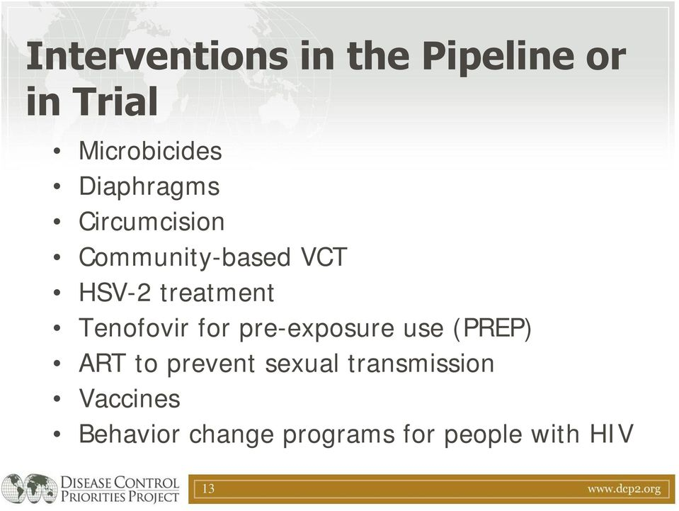 Tenofovir for pre-exposure use (PREP) ART to prevent sexual