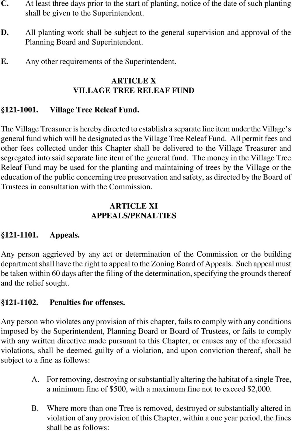 ARTICLE X VILLAGE TREE RELEAF FUND 121-1001. Village Tree Releaf Fund.