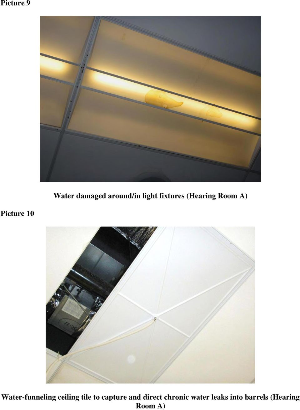 Water-funneling ceiling tile to capture and