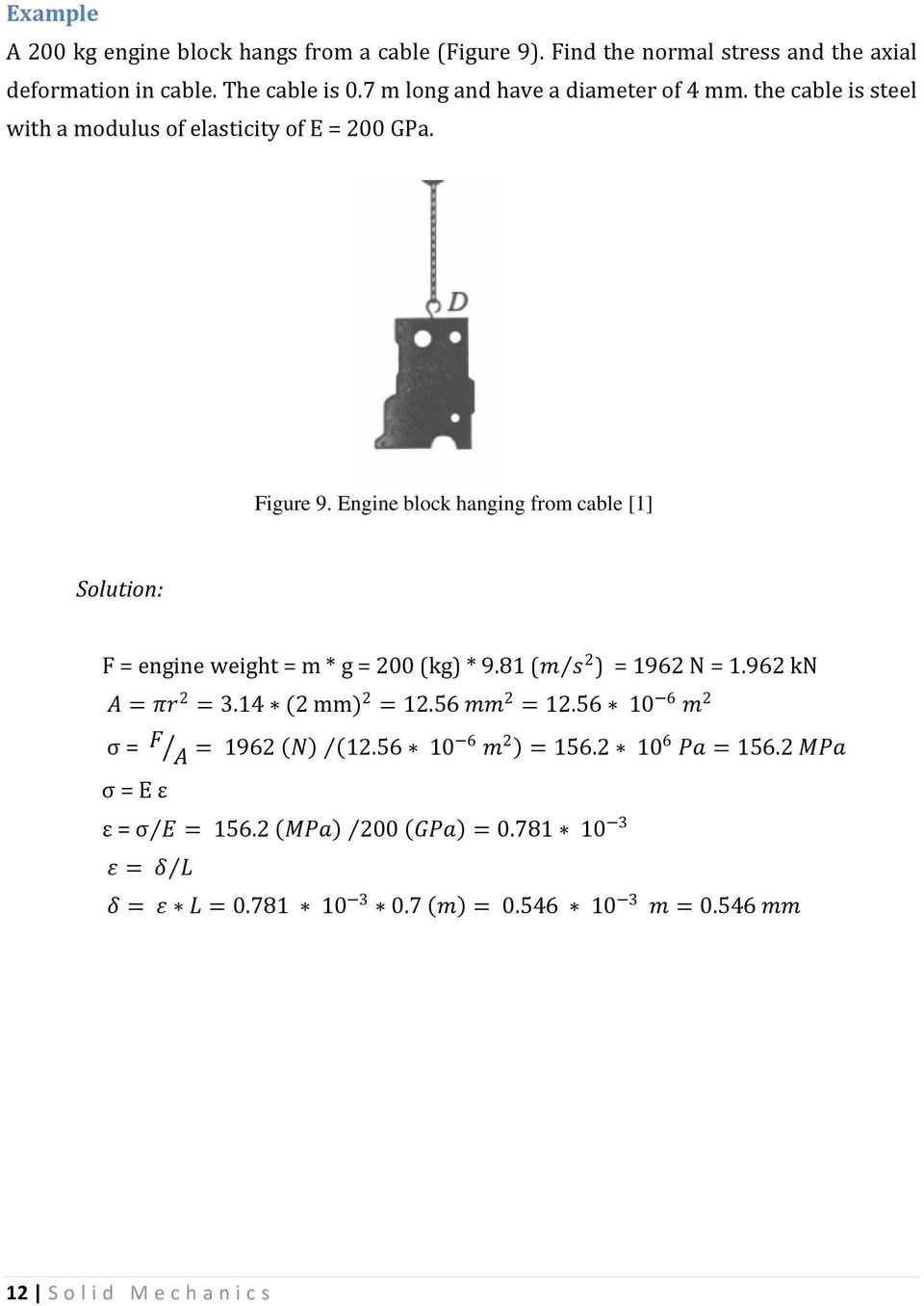 Engine block hanging from cable [1] Solution: = engine weight = m * g = 200 (kg) * 9.81 (m s 2 ) = 1962 N = 1.962 kn A = πr 2 = 3.14 (2 mm) 2 = 12.