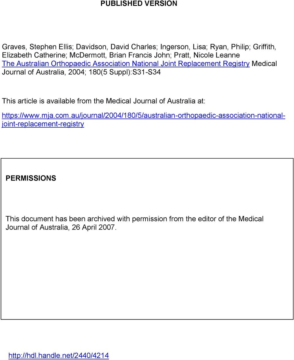 article is available from the Medical Journal of Australia at: https://www.mja.com.