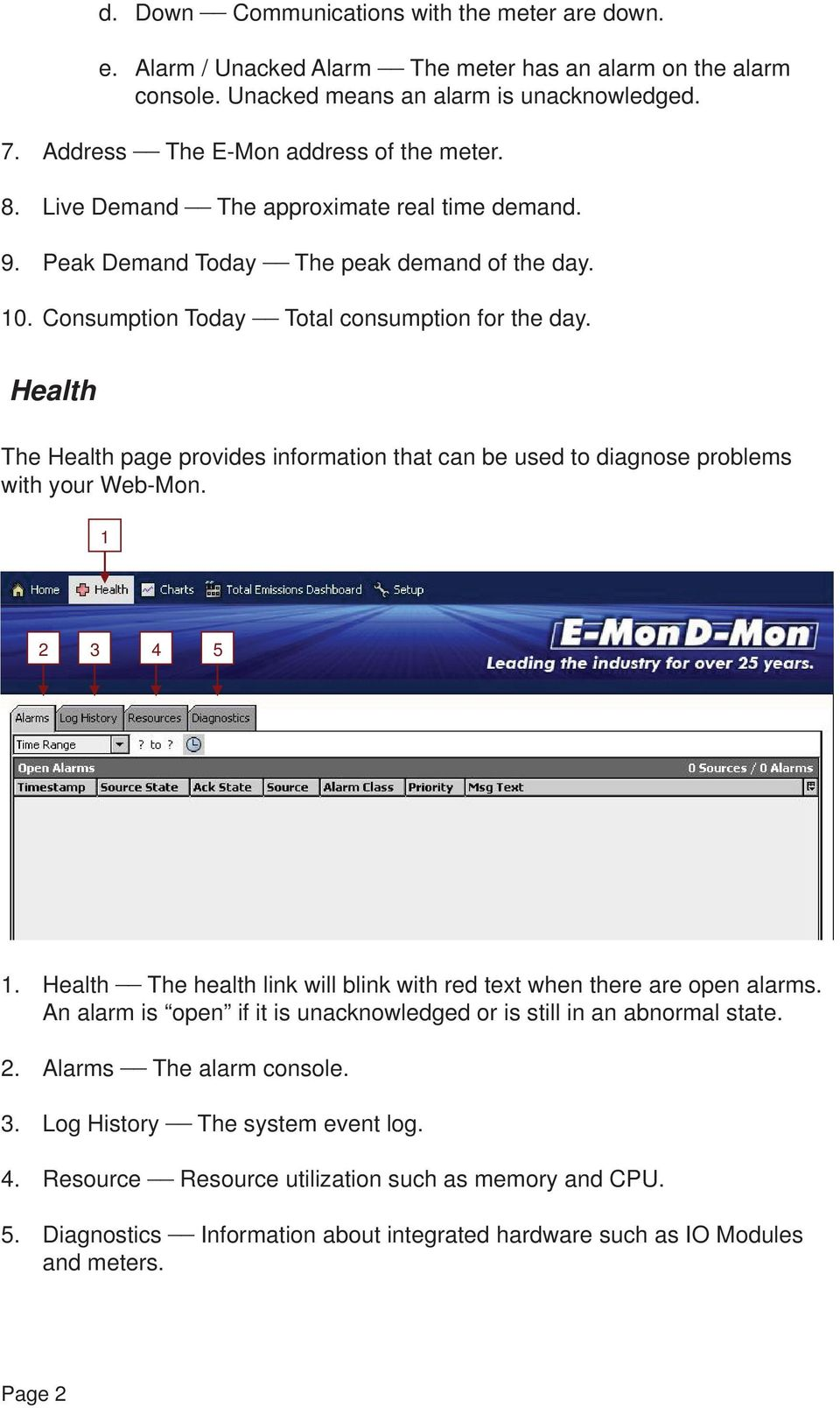Health The Health page provides information that can be used to diagnose problems with your Web-Mon. 1 2 3 4 5 1. Health The health link will blink with red text when there are open alarms.