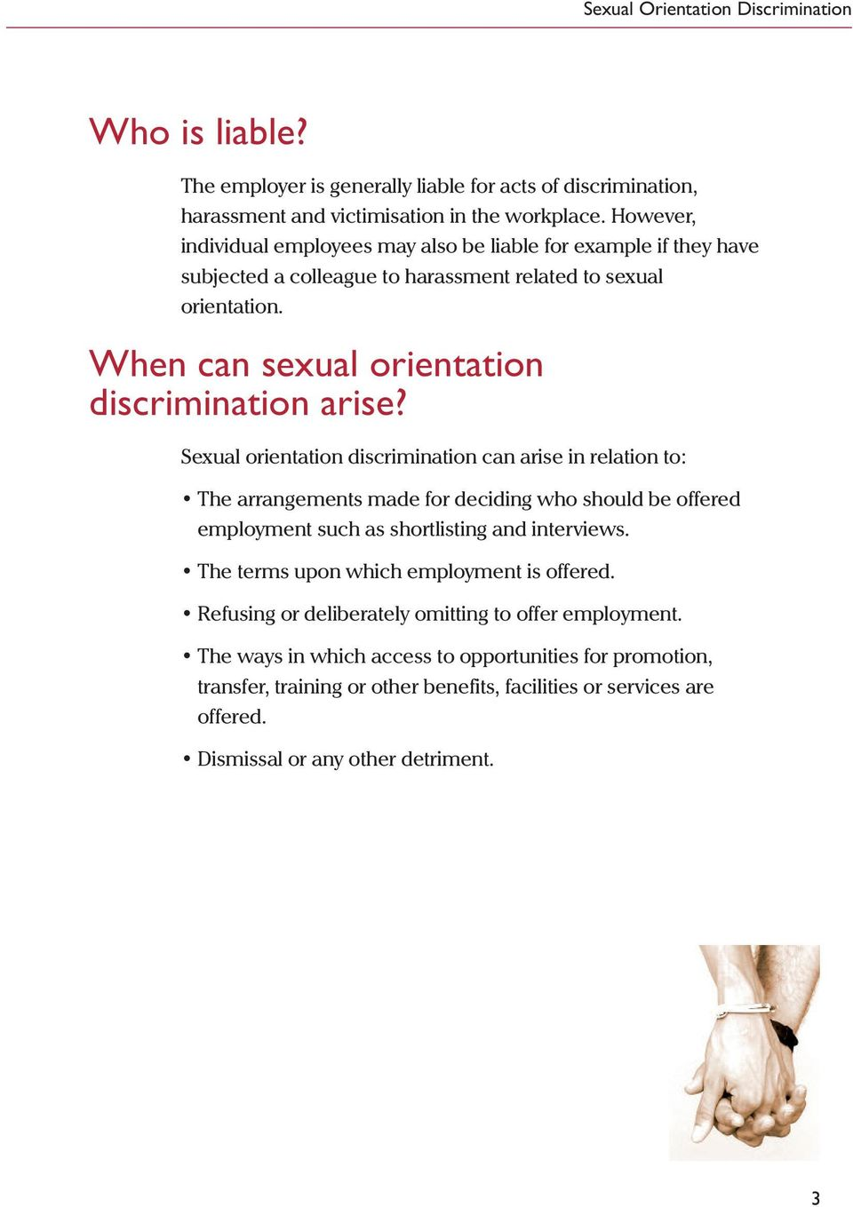 When can sexual orientation discrimination arise?