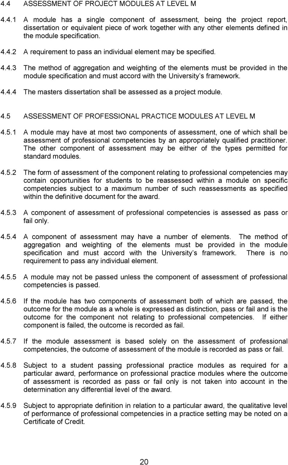 4.4.4 The masters dissertation shall be assessed as a project module. 4.5