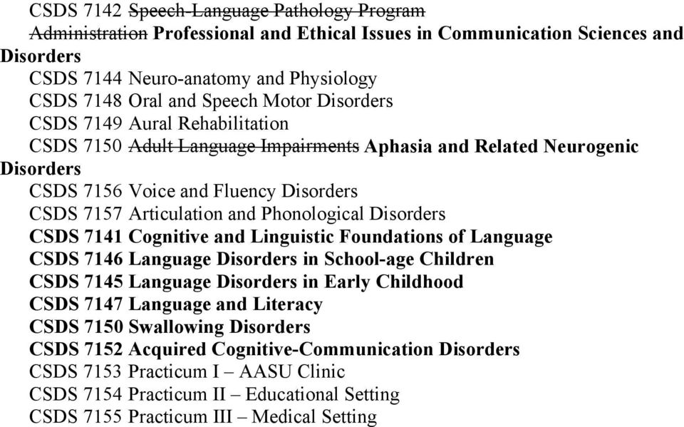 Phonological Disorders CSDS 7141 Cognitive and Linguistic Foundations of Language CSDS 7146 Language Disorders in School-age Children CSDS 7145 Language Disorders in Early Childhood CSDS 7147