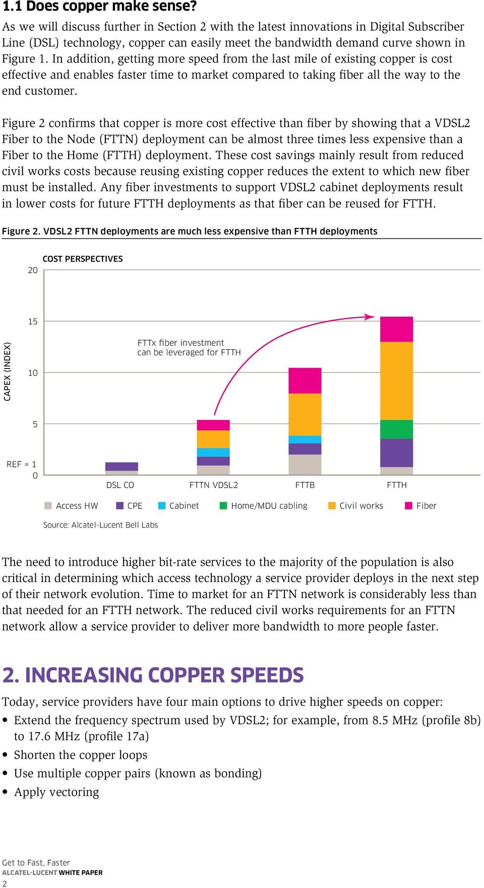 In addition, getting more speed from the last mile of existing copper is cost effective and enables faster time to market compared to taking fiber all the way to the end customer.