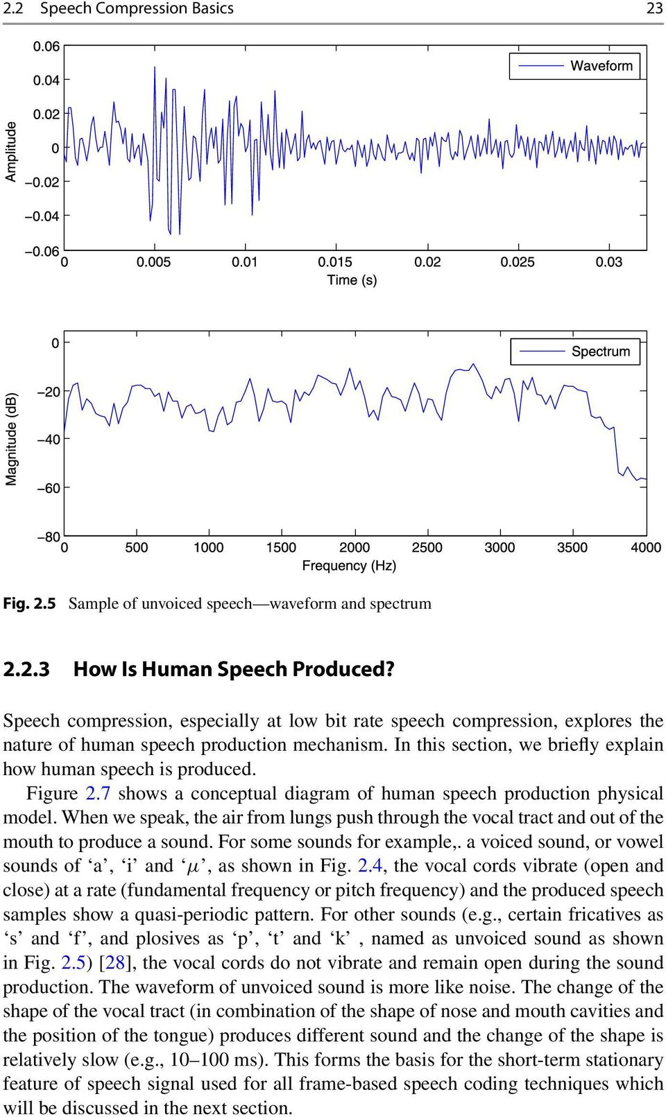 7 shows a conceptual diagram of human speech production physical model. When we speak, the air from lungs push through the vocal tract and out of the mouth to produce a sound.