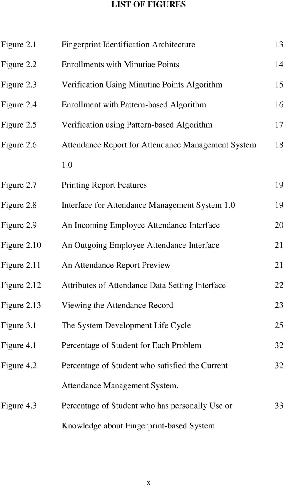 7 Printing Report Features 19 Figure 2.8 Interface for Attendance Management System 1.0 19 Figure 2.9 An Incoming Employee Attendance Interface 20 Figure 2.