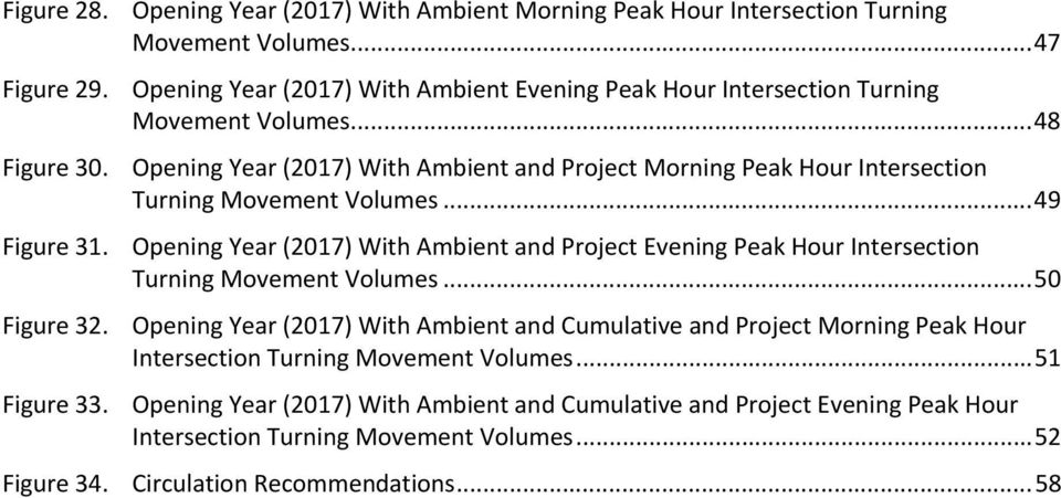 Opening Year (2017) With Ambient and Project Morning Peak Hour Intersection Turning Movement Volumes... 49 Figure 31.