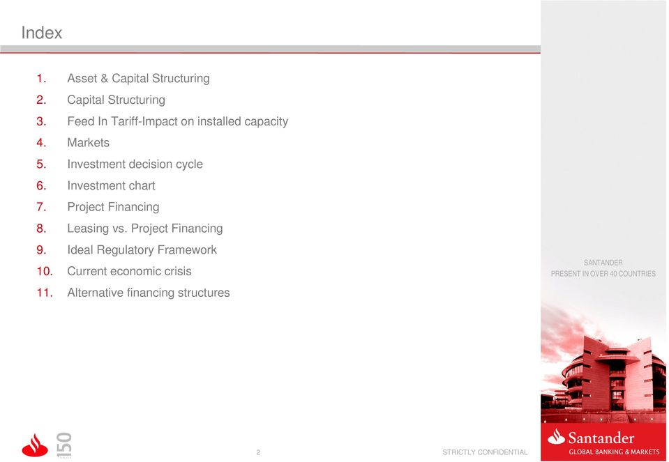 Investment decision cycle 6. Investment chart 7. Project Financing 8. Leasing vs.