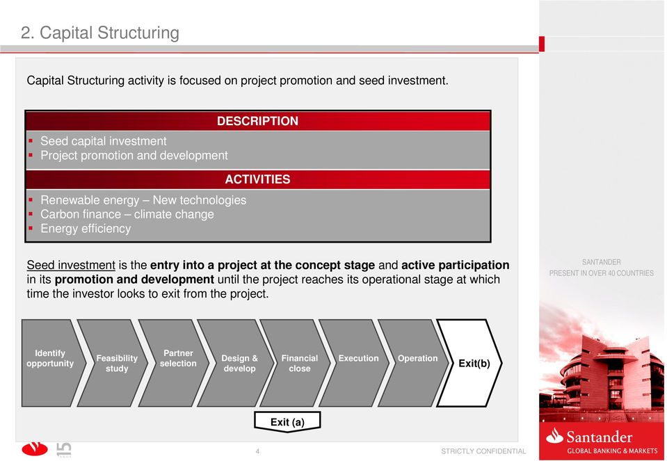 ACTIVITIES Seed investment is the entry into a project at the concept stage and active participation in its promotion and development until the project reaches