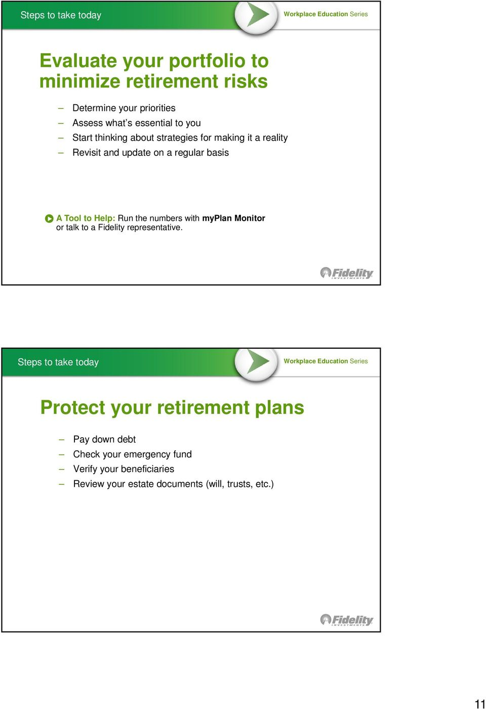 Help: Run the numbers with myplan Monitor or talk to a Fidelity representative.
