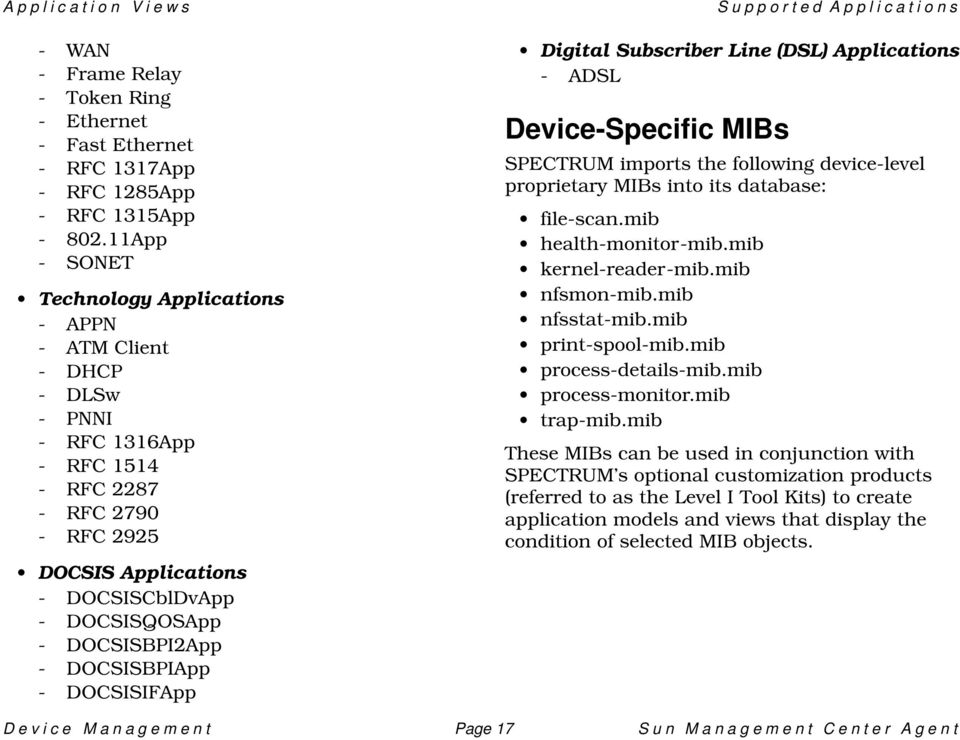 DOCSISBPI2App - DOCSISBPIApp - DOCSISIFApp Supported Applications Digital Subscriber Line (DSL) Applications - ADSL Device-Specific MIBs SPECTRUM imports the following device-level proprietary MIBs