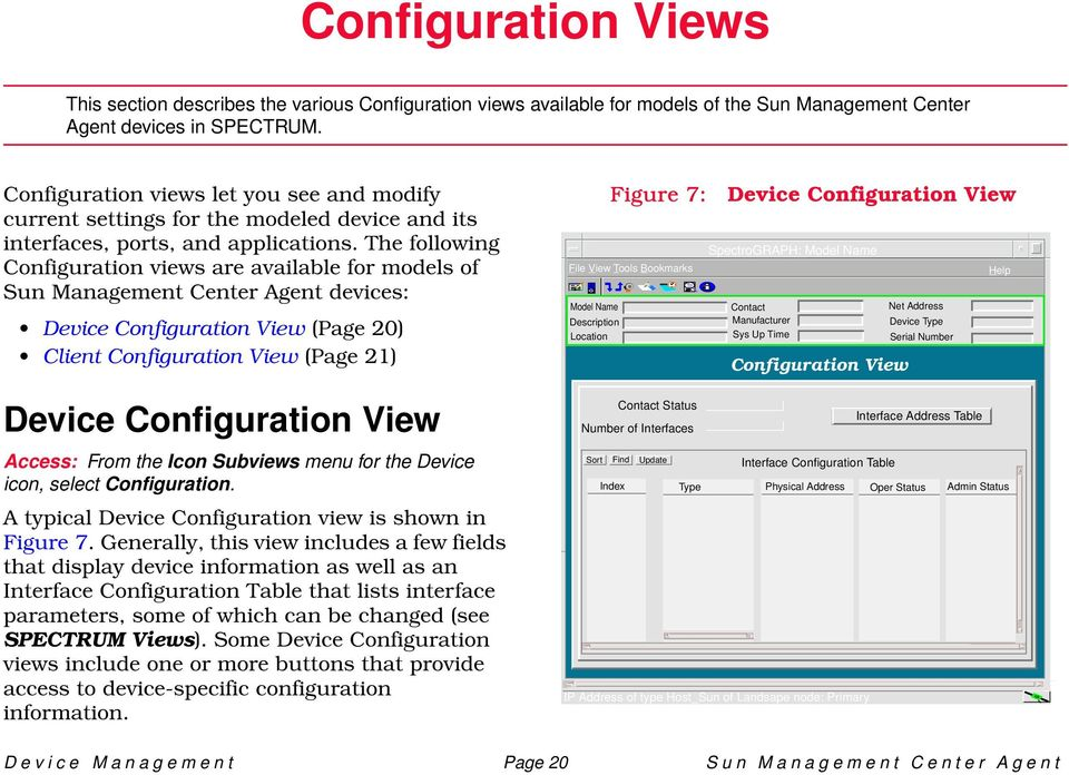 The following Configuration views are available for models of Sun Management Center Agent devices: Device Configuration View (Page 20) Client Configuration View (Page 21) Model Name Figure 7: File