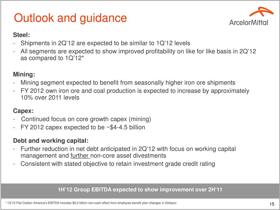 Capex: - Continued focus on core growth capex (mining) - FY 2012 capex expected to be ~$4-4.