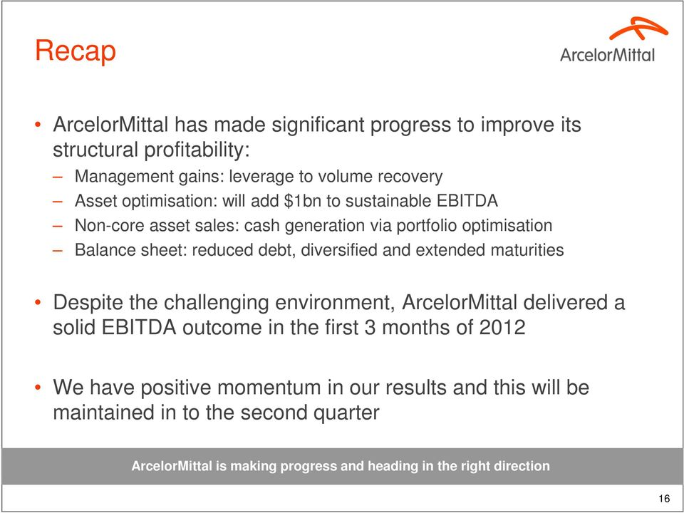 diversified and extended maturities Despite the challenging environment, ArcelorMittal delivered a solid EBITDA outcome in the first 3 months of 2012