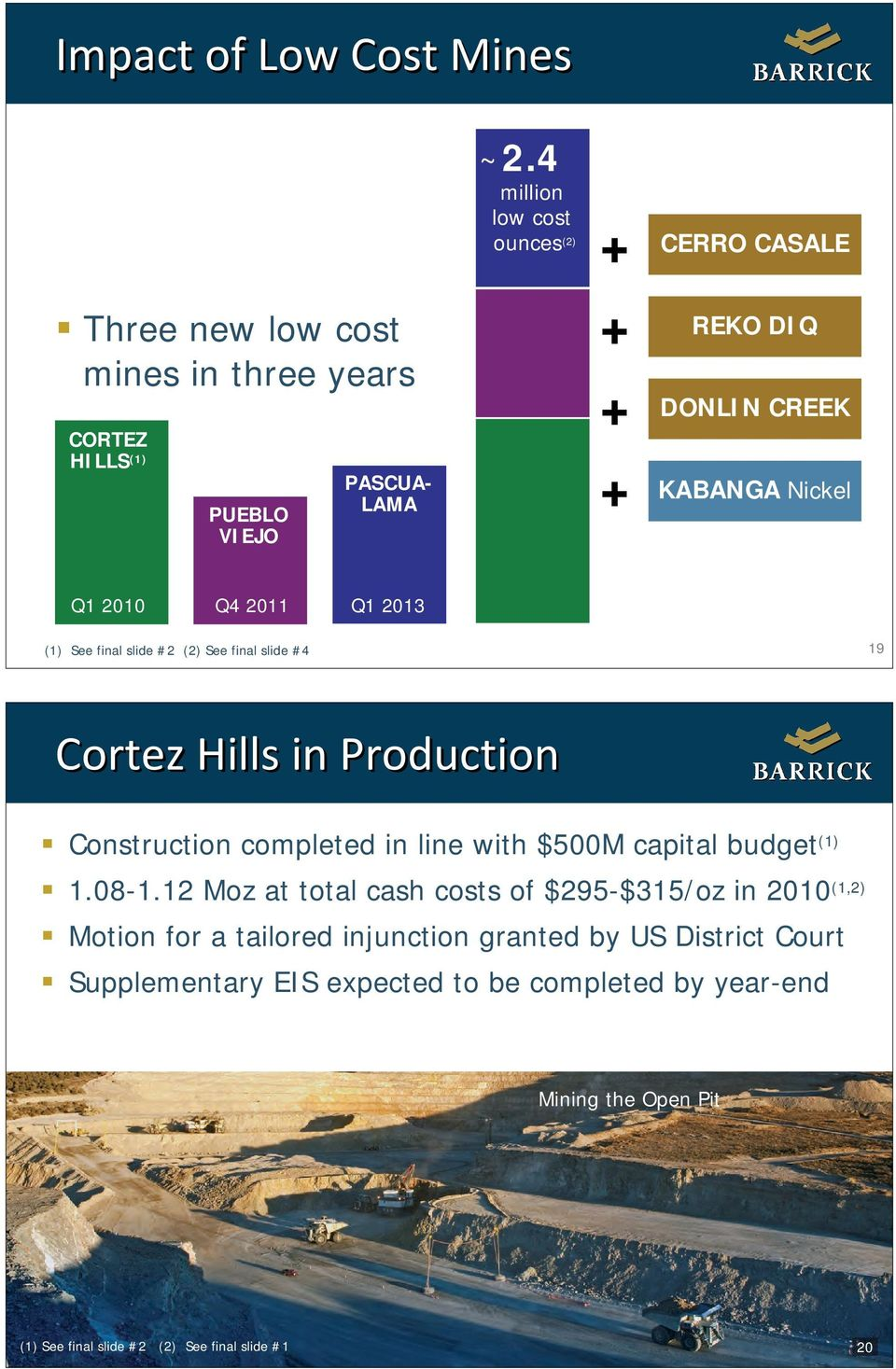 slide #4 19 Cortez Hills in Production Construction completed in line with $500M capital budget (1) 1.08-1.
