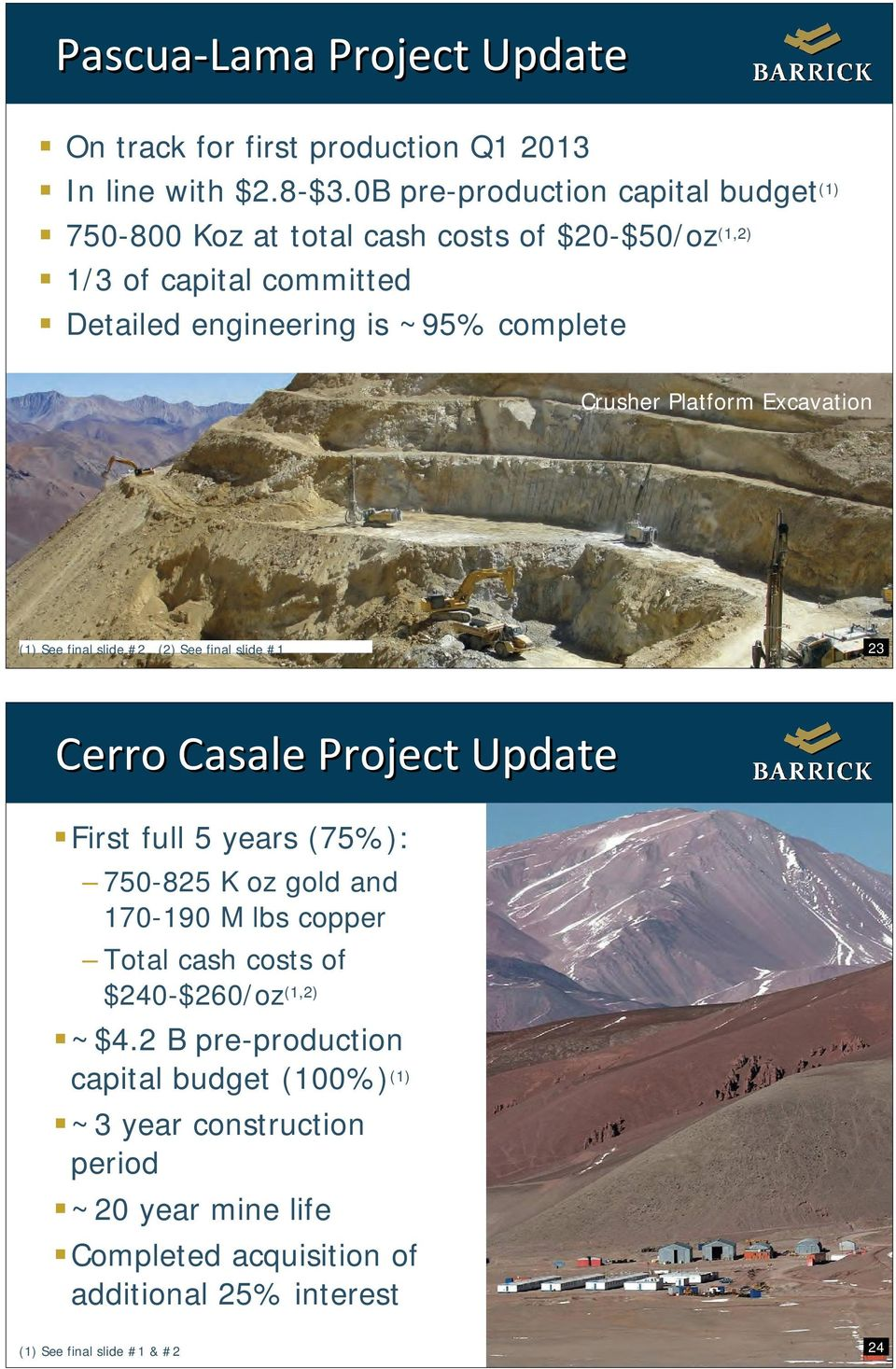 Crusher Platform Excavation (1) See final slide #2 (2) See final slide #1 23 Cerro Casale Project Update First full 5 years (75%): 750-825 K oz gold and