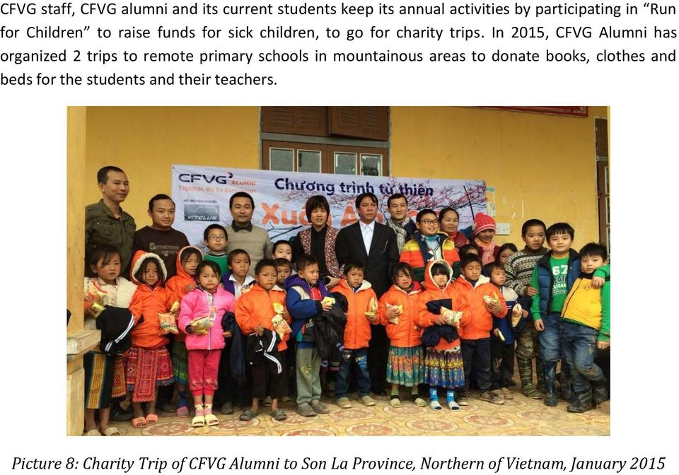 In 2015, CFVG Alumni has organized 2 trips to remote primary schools in mountainous areas to donate books,