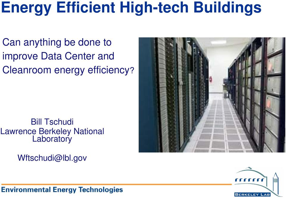 Cleanroom energy efficiency?