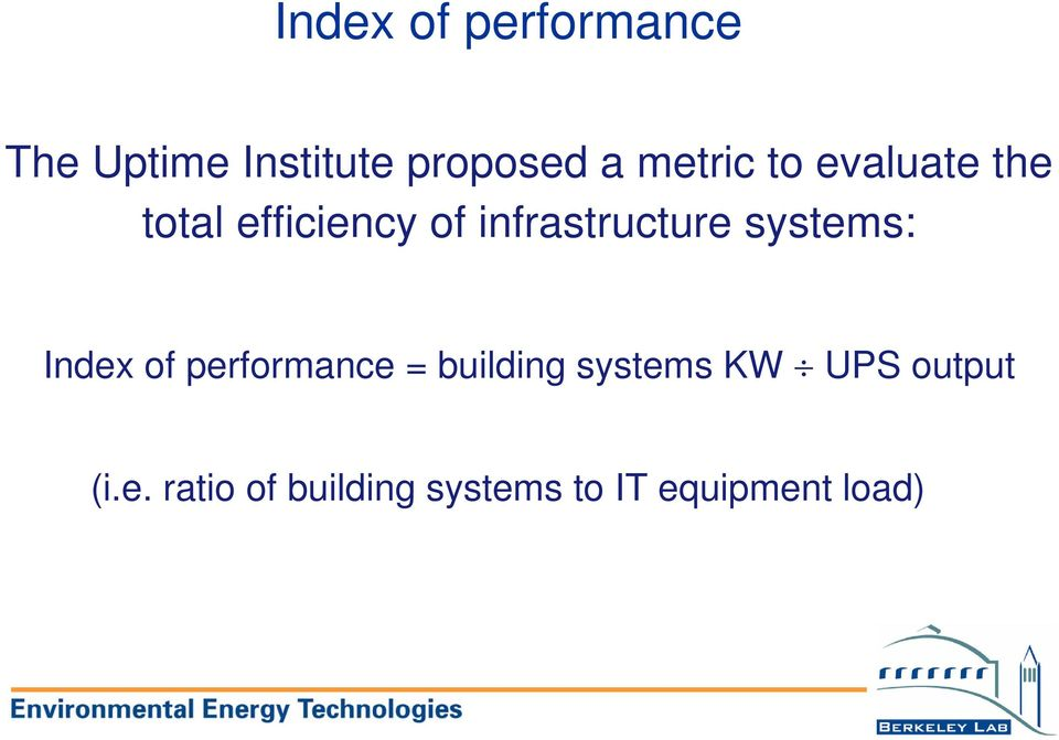 infrastructure systems: Index of performance = building