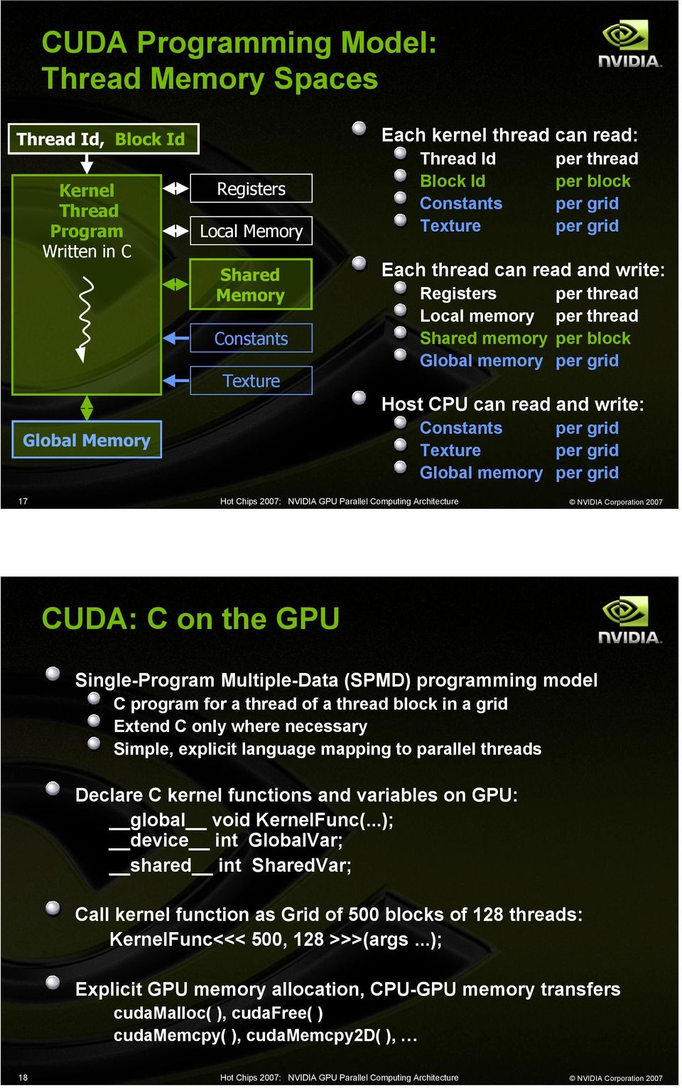 grid 17 CUDA: C on the GPU Single-Program Multiple-Data (MD) programming model C program for a thread of a thread block in a grid Extend C only where necessary Simple, explicit language mapping to