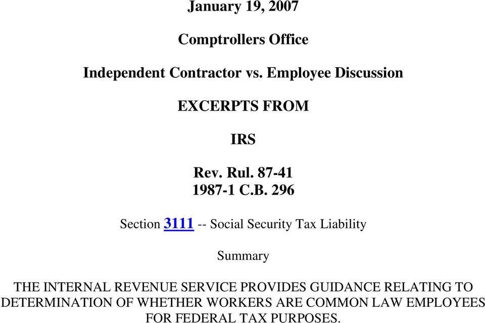 296 Section 3111 -- Social Security Tax Liability Summary THE INTERNAL REVENUE