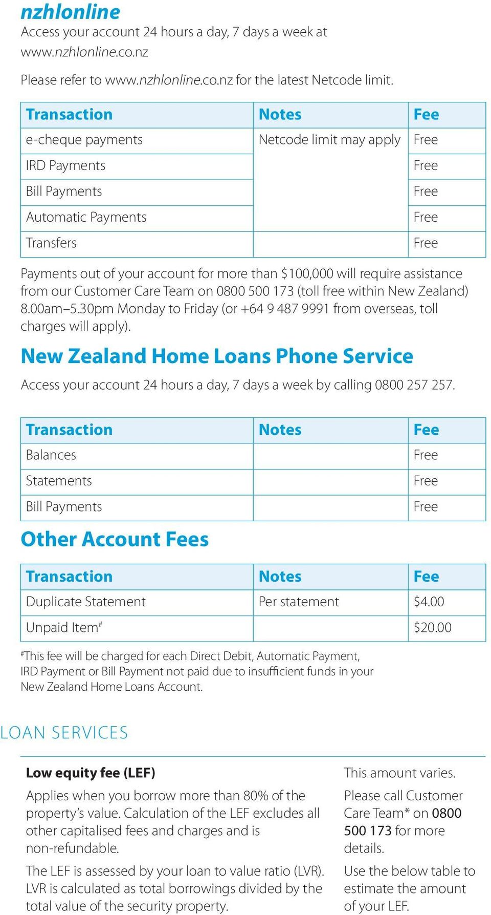 from our Customer Care Team on 0800 500 173 (toll free within New Zealand) 8.00am 5.30pm Monday to Friday (or +64 9 487 9991 from overseas, toll charges will apply).