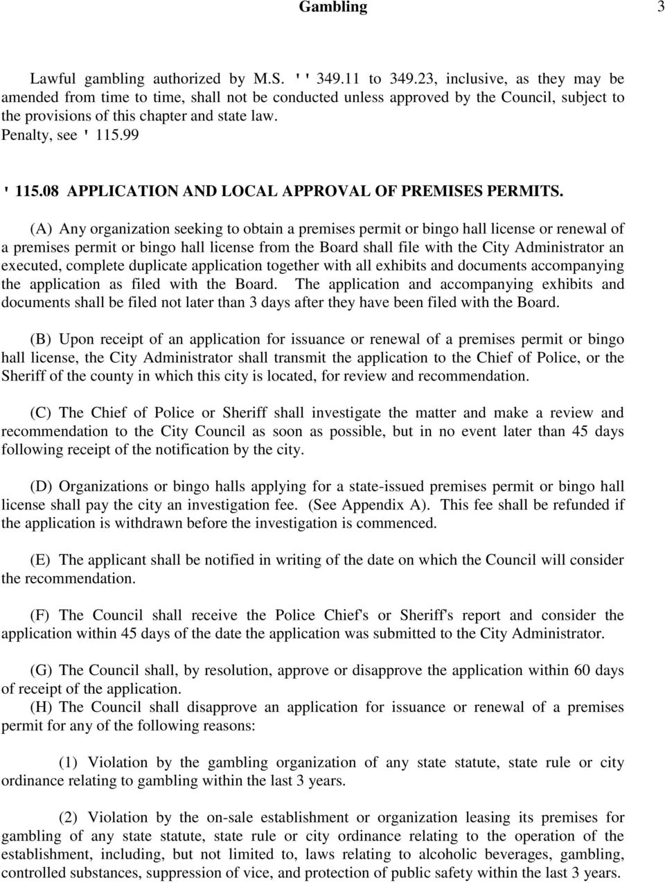08 APPLICATION AND LOCAL APPROVAL OF PREMISES PERMITS.
