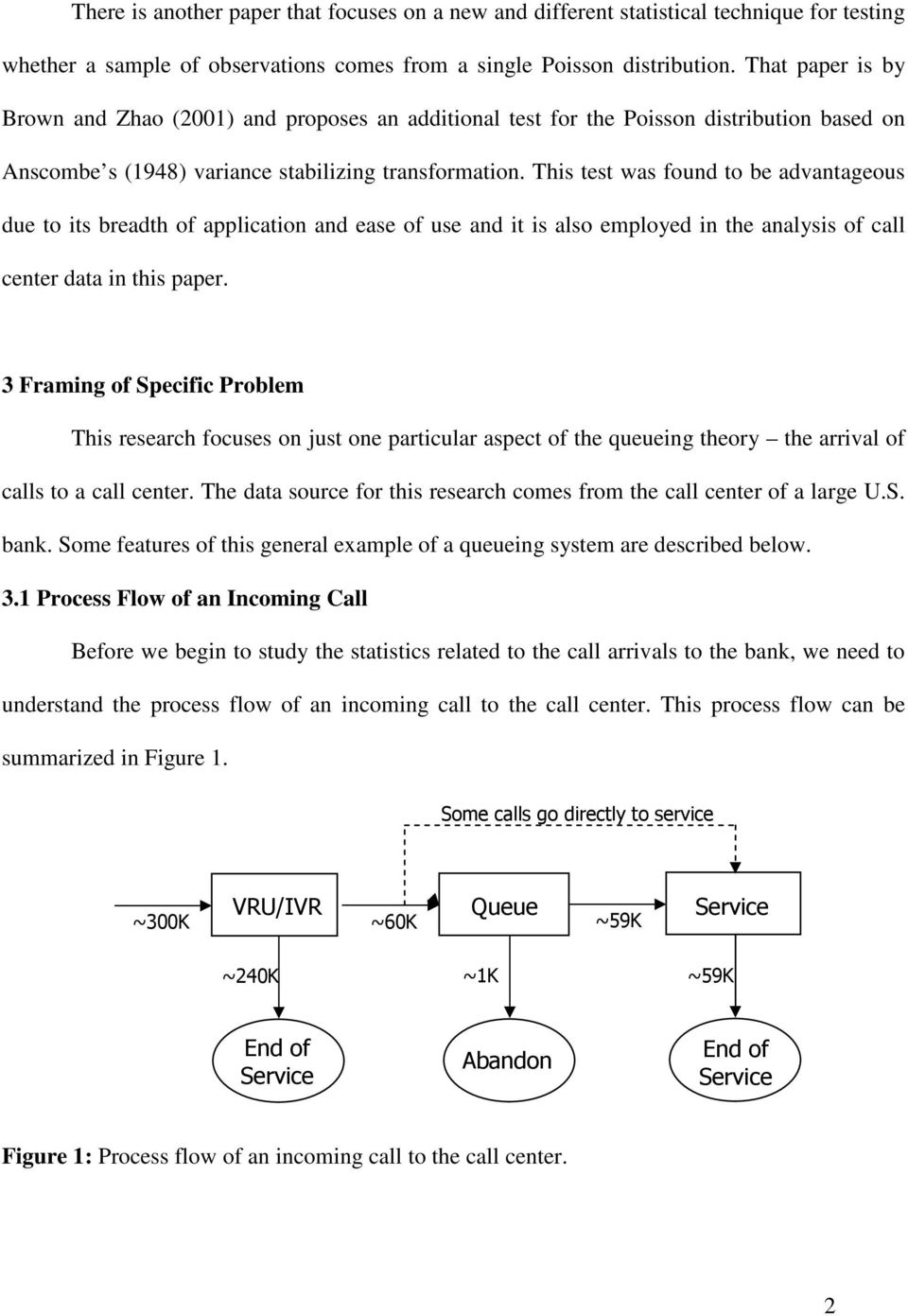 This test was found to be advantageous due to its breadth of application and ease of use and it is also employed in the analysis of call center data in this paper.
