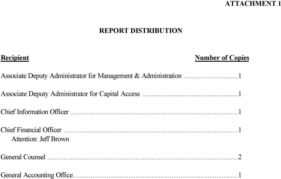 ..1 Associate Deputy Administrator for Capital Access.