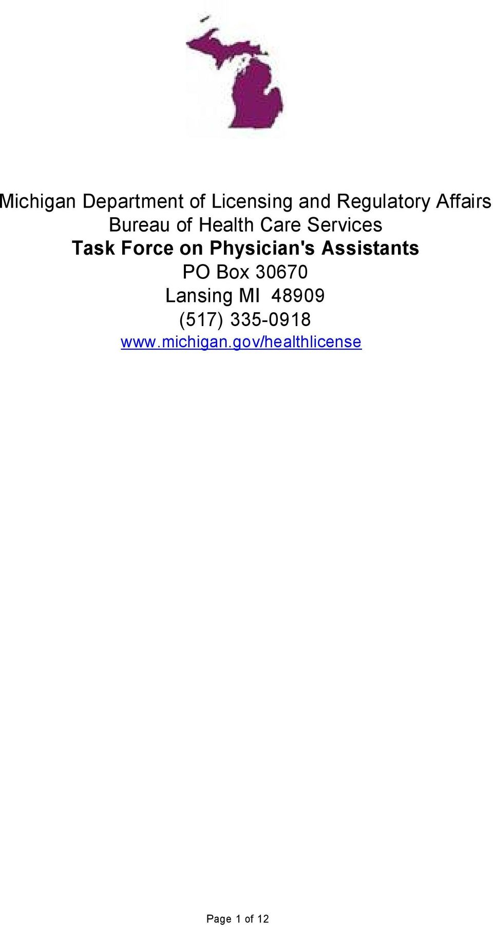 Physician's Assistants PO Box 30670 Lansing MI 48909