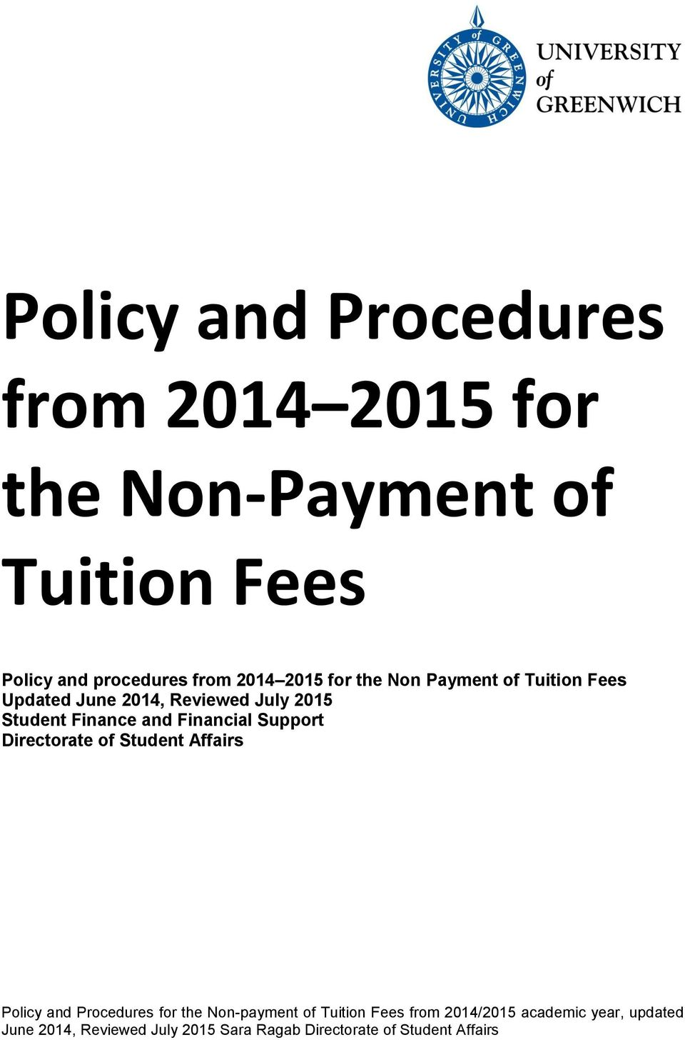 Payment of Tuition Fees Updated June 2014, Reviewed July 2015