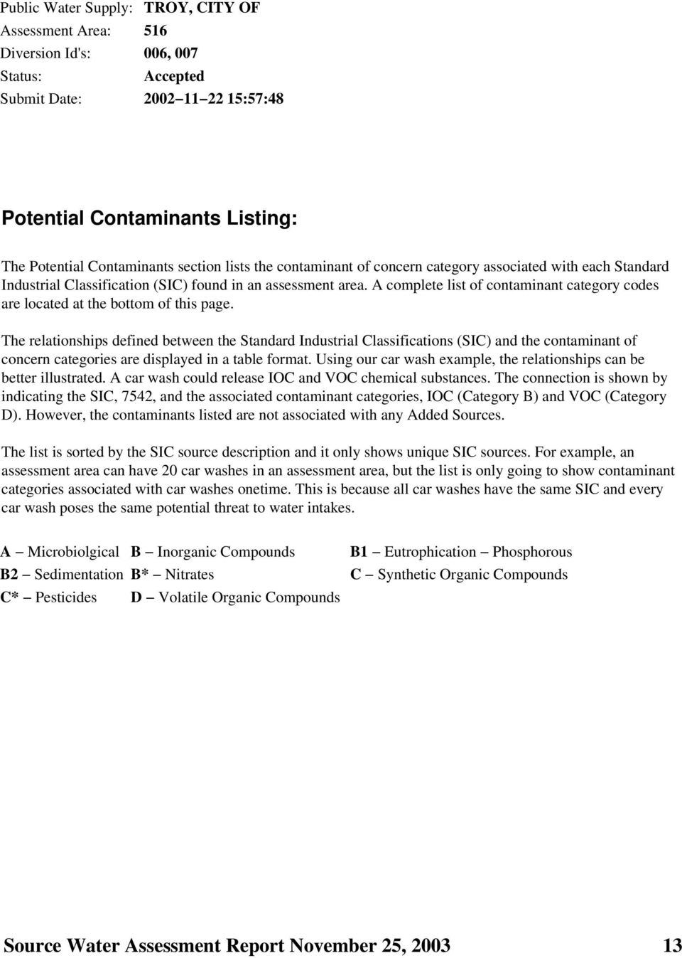 A complete list of contaminant category codes are located at the bottom of this page.