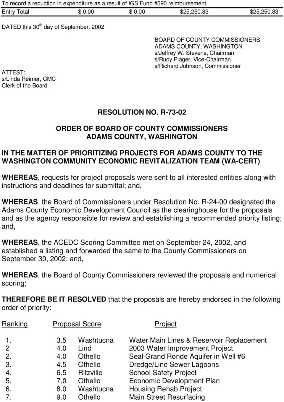 R-73-02 ORDER OF IN THE MATTER OF PRIORITIZING PROJECTS FOR ADAMS COUNTY TO THE WASHINGTON COMMUNITY ECONOMIC REVITALIZATION TEAM (WA-CERT) WHEREAS, requests for project proposals were sent to all