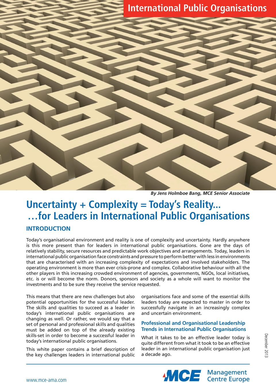 Hardly anywhere is this more present than for leaders in international public organisations.