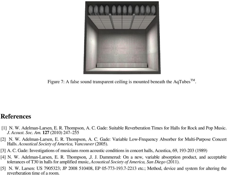 Gade: Variable Low-Frequency Absorber for Multi-Purpose Concert Halls. Acoustical Society of America, Vancouver (2005). [3] A. C. Gade: Investigations of musicians room acoustic conditions in concert halls, Acustica, 69, 193-203 (1989) [4] N.