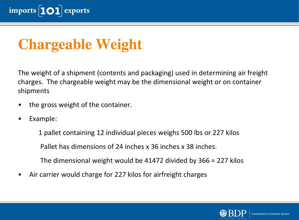 Example: 1 pallet containing 12 individual pieces weighs 500 lbs or 227 kilos Pallet has dimensions of 24 inches x 36