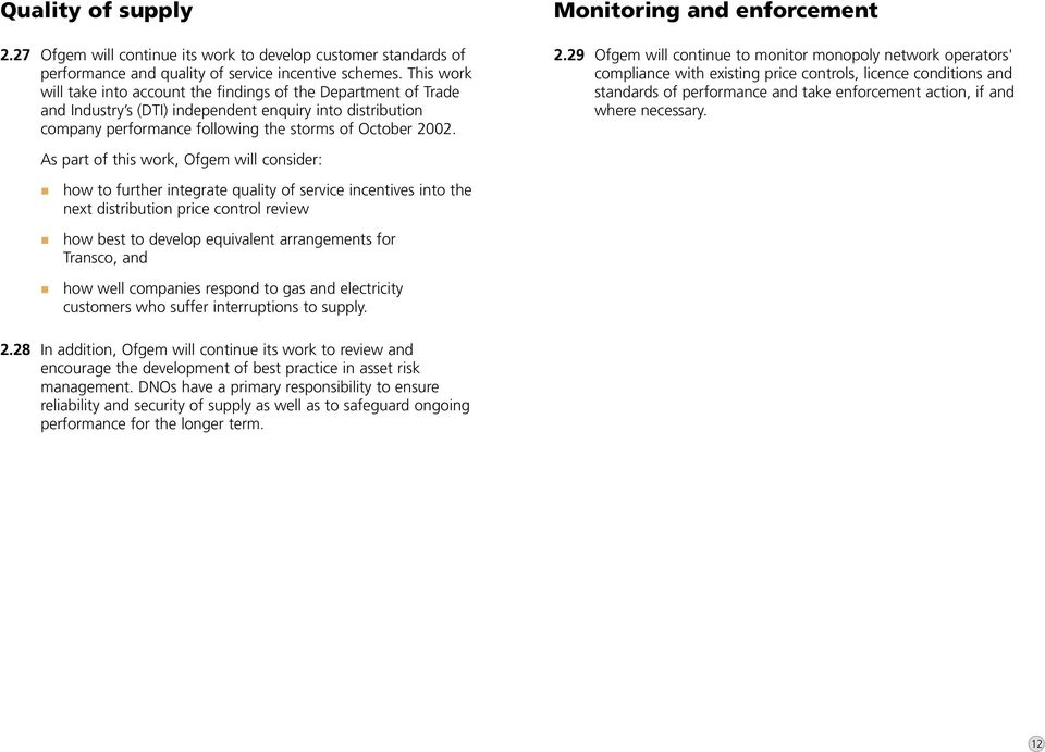 Monitoring and enforcement 2.