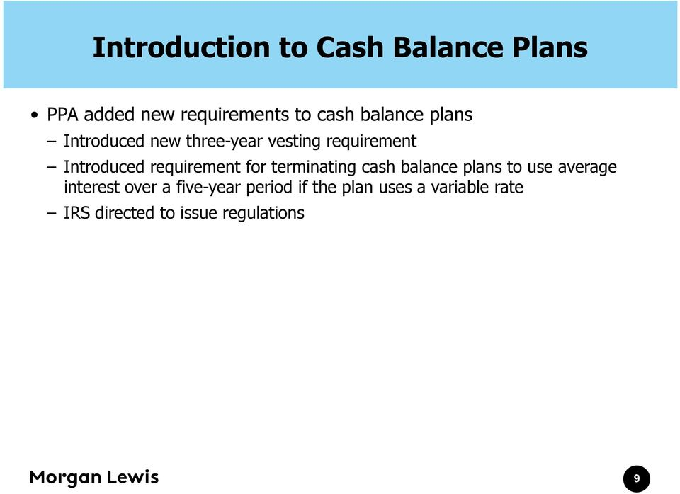 requirement for terminating cash balance plans to use average interest over
