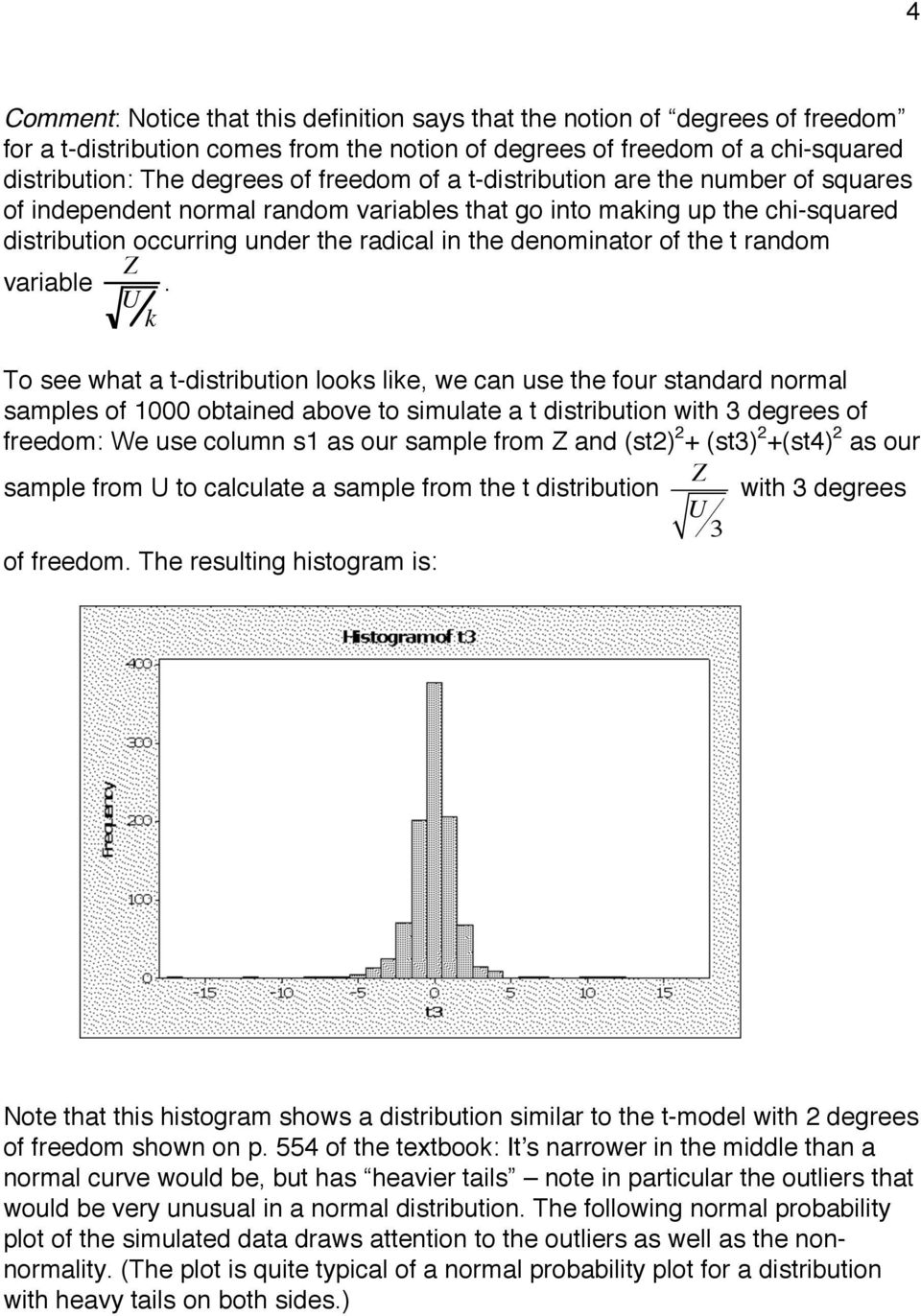 U k To see what a t-distributio looks like, we ca use the four stadard ormal samples of 1000 obtaied above to simulate a t distributio with 3 degrees of freedom: We use colum s1 as our sample from Z